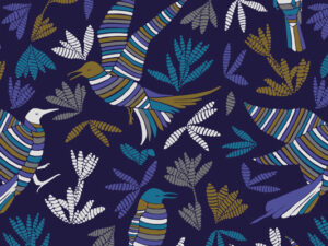 Papier Peint Ressource, Collection Forestine, Motif La Ronde des Oiseaux Variation LRDO01