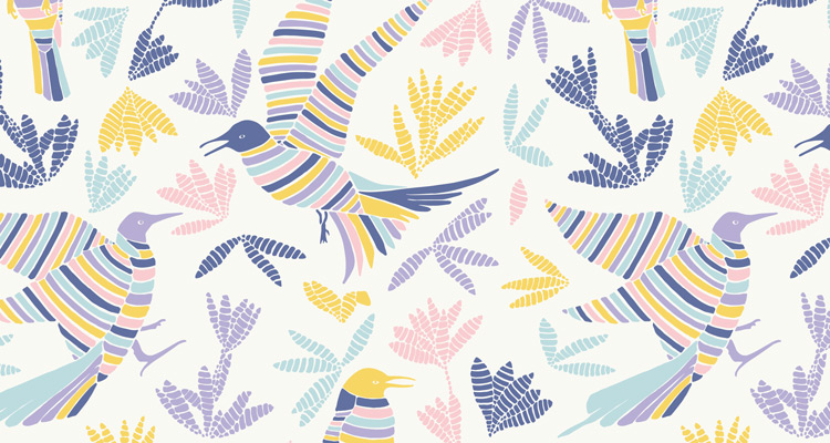 Papier Peint Ressource, Collection Forestine, Motif La Ronde des Oiseaux Variation LRD03