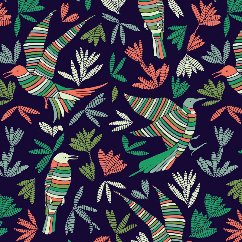 Papier Peint Ressource, Collection Forestine, Motif La Ronde des Oiseaux Variation LRD04
