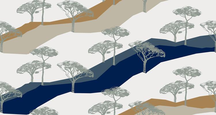 Papier Peint Ressource, Collection Forestine, Motif Sous les Pins, Variation SLP02