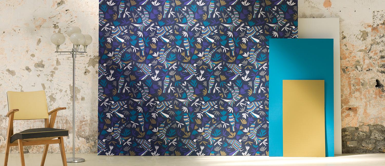 papier peint ressource collection forestine motif la ronde des oiseaux ressource peintures. Black Bedroom Furniture Sets. Home Design Ideas