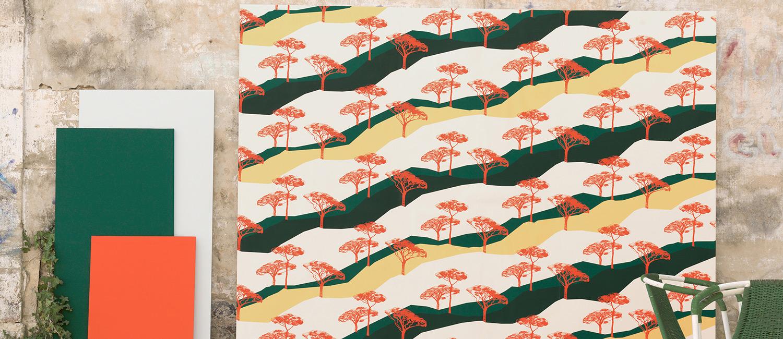 Papier Peint Ressource, Collection Forestine, Motif Sous les Pins