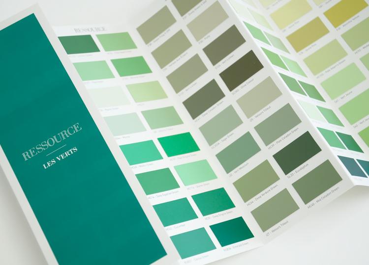 Les Verts - Nuancier accordéon, Ressource Peintures