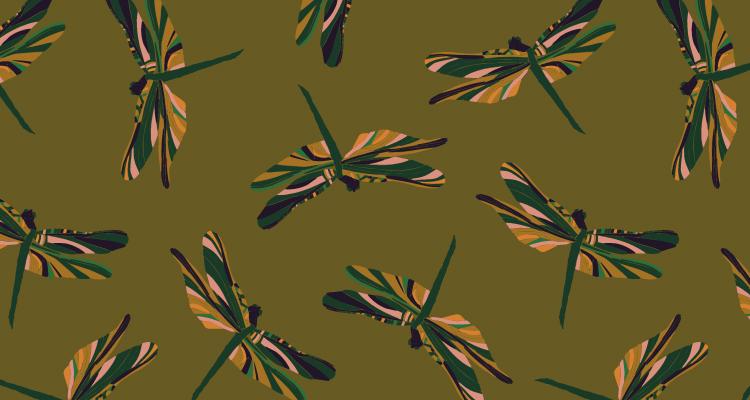 Papier Peint Ressource, Collection Faune & Flore, Motif Demoiselles, Variation D02
