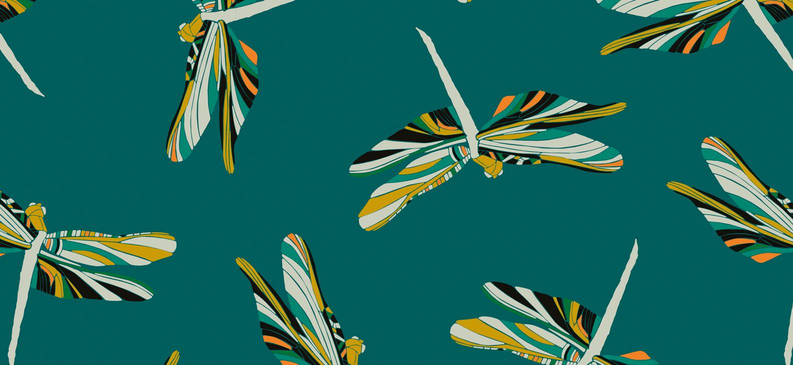 Papier Peint Ressource, Collection Faune & Flore, Motif Demoiselles, Variation D04