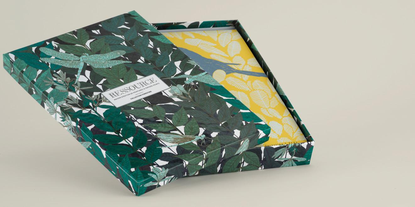 Boite échantillons A4 papiers peints Forestine